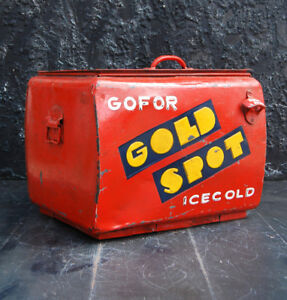 Rare 1969 Gold Spot Metal Cooler Advertising Vintage Hand Painted Indian Box