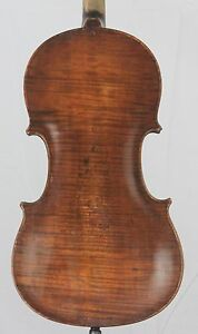 Very Old Antique 4 4 Violin Fiddle One Piece Back With Pins Restored 1914 Repair