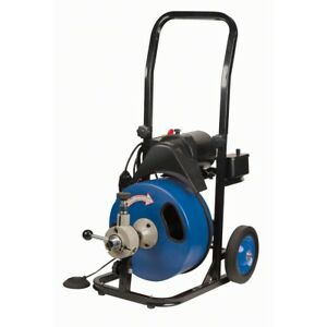 Commercial Power feed Drain Cleaner 50 Ft Gfci Snake Automatic Mobile Electric