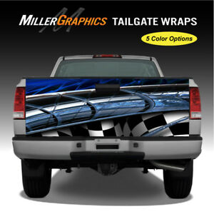 Truck Graphic 106 Abstract Checkered Flag Tailgate Wrap Vinyl Decal 5 Colors