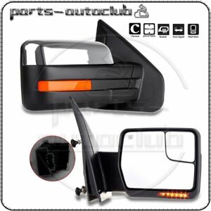 For 2004 14 Ford F 150 Power Heated Puddle Signal Chrome Side View Mirrors Pair