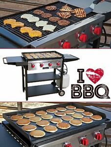 Gas Flat Top Grill Grilling Surface Professional Commercial Four Burner Cooker