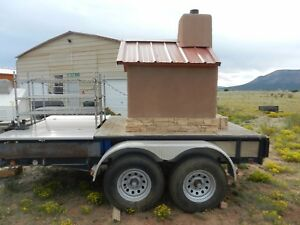 Custom Made Wood Fired Pizza Oven On Pj Trailer Dough Roller Racks