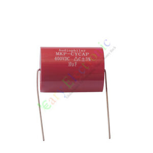 50pc Mkp 400v 10uf Red Long Copper Leads Axial Electrolytic Capacitor Audio Amp