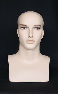 16 In H Male Head Bust Display Mannequin Skintone With Face Make Up Mh7ft