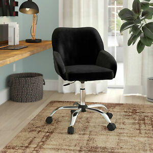 Modern Office Executive Chair Task Desk Adjustable Swivel Height Velvet Black