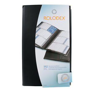Rolodex 192 card Capacity Vinyl Business Card Book 32 Pages Black