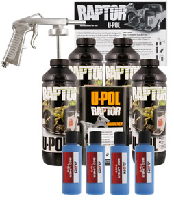 U pol Raptor Tintable Reflex Blue Bed Liner Kit W Spray Gun 4l Upol