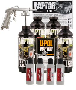 U pol Raptor Tintable Dove Gray Bed Liner Kit Spray Gun 4 Liters Upol