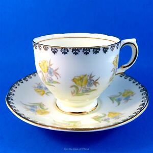 Handpainted Yellow And Blue Floral Salisbury Tea Cup And Saucer Set