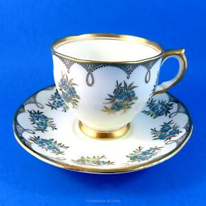 Pretty Blue Floral With Gold Salisbury Tea Cup And Saucer Set