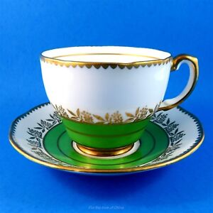 Green And White With Gold Floral Garland Salisbury Tea Cup And Saucer Set