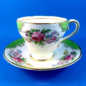 Green Edge And Bright Florals Salisbury Tea Cup And Saucer Set