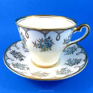 Raised Blue Flowers With Gold Design Salisbury Tea Cup And Saucer Set