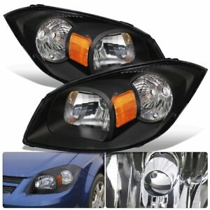 Fits 07 09 Pontiac G5 Black Housing Clear Lens Head Light Lamp Pair Left right