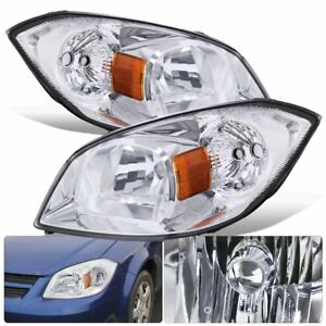 Fits 07 09 Pontiac G5 Chrome Housing Clear Lens Head Light Lamp Pair Left right