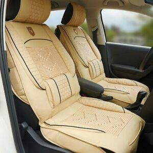 1x Universal Pu Leather Car Seat Cover Cushion Back Support Waist Massage Beige