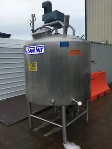 500 Gallon Sanifab Jacketed Mixing Tank With Scrape And Sweep Type Agitation