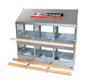 New Brower 6 Hole Galvanized Hen Nest Chicken Nesting Laying Box Made In Usa
