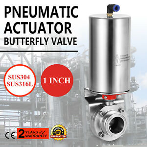 1 Tri Clamp Sanitary Butterfly Valve With Pneumatic Actuator Sus304 Clamp