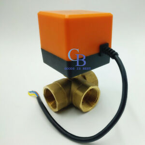 Dc 12v G1 2 Dn15 Brass 3 Way Motorized Ball Valve T Type Electrical Valve