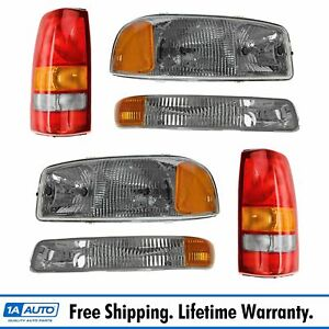 Headlight Parking Light Tail Lamp Kit Set Of 6 For 99 03 Gmc Sierra Pickup Truck