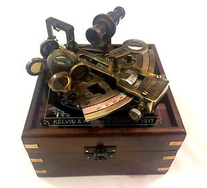 Kelvin Hughes Antique Nautical German Pattern Working Sextant With Wooden Box
