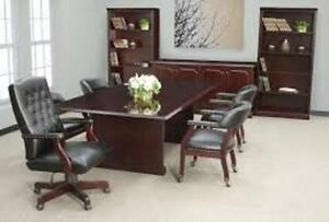 Conference Table Power Outlet 8 Office Executive Furniture Meeting Mahogany