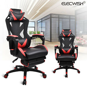 Gaming Race Computer Chair Office Desk Seat Executive High Back Leather Footrest