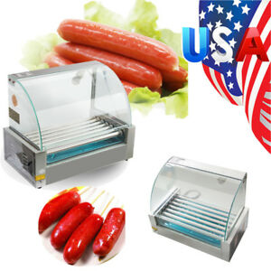 Us Roller Commercial 18 Hotdog Hot Dog 7 Roller Grill Cooker Machine W cover New