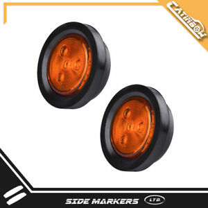 2pc 2 5 Round Amber Led Trailer Clearance Side Marker Signal Lights 4led Truck
