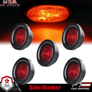 5pc 2 5 Round Red Led Trailer Clearance Side Marker Signal Lights 4led Truck
