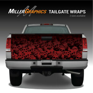 Pile Of Skulls Red Truck Tailgate Vinyl Graphic Decal Wrap
