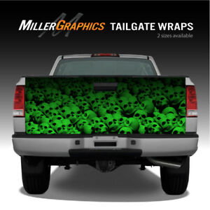 Pile Of Skulls green Truck Tailgate Vinyl Graphic Decal Wrap