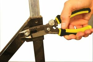 5in1 Cable Stripper Pliers Crimper Wire Cutter Reamer Comfort Grip Tool Steel