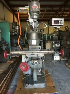 Bridgeport Milling Machine Sony Dro 7 riser Power Knee And Table Chrome Ways
