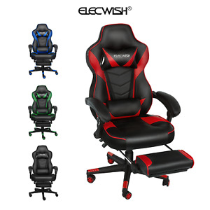 Elecwish Office Gaming Chair Racing Ergonomic Bucket Seat Computer Desk Footrest