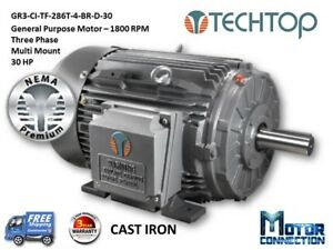 30 Hp Electric Motor Gen Purp 1800 Rpm 3 phase 286t Cast Iron Nema Prem