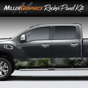Camo Chameleon black And Green Rocker Panel Graphic Decal Wrap Kit Truck Suv