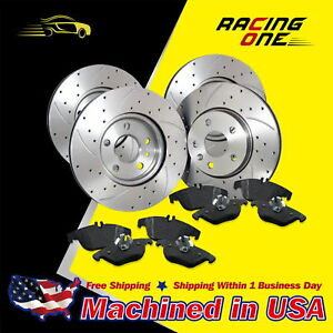 Front rear Drilled Slotted Brake Rotor Pads Fit 03 05 Subaru Impreza