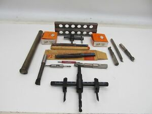 Lot Of Machinist Metal Working Tools Punches Taps End Mills Boring Bar Drift