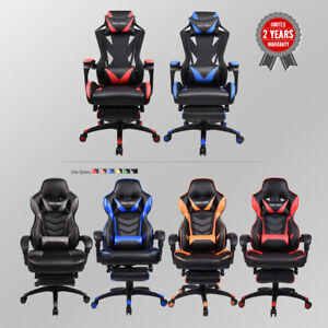 Office High Back Recliner Seat Gaming Chair Race Style Leather Swivel Adjustable