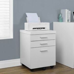 Monarch Specialties 3 drawer Mobile File Cabinet I 7048 White Modern Hollow core
