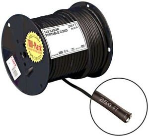 250 Ft 14 3 Black Portable Power Sjoow Electrical Cord Home Electrical Building