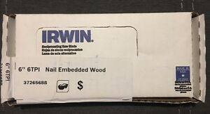 Irwin Wood Cutting Recip Blades 6 6tpi 50 Pack New In Box Sawzall Blades