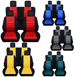Front Rear Car Seat Covers Blk Charcoal Red Fits Wrangler Jk 2dr 4dr 07 2018