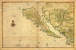 Maritime Chart Map Of California 1650 20x30