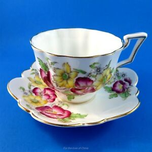 Handpainted Pink And Yellow Floral Salisbury Tea Cup And Saucer Set