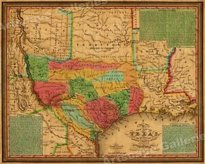 1830s Texas Indian Territory Land Grants Historic Wall Map 24x30