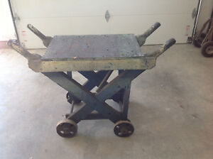 Antique Industrial Factory Iron Wheel Cart Planter Liquor Island Coffee Table 2